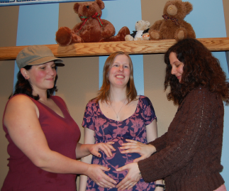 pregnant woman, friend, midwife